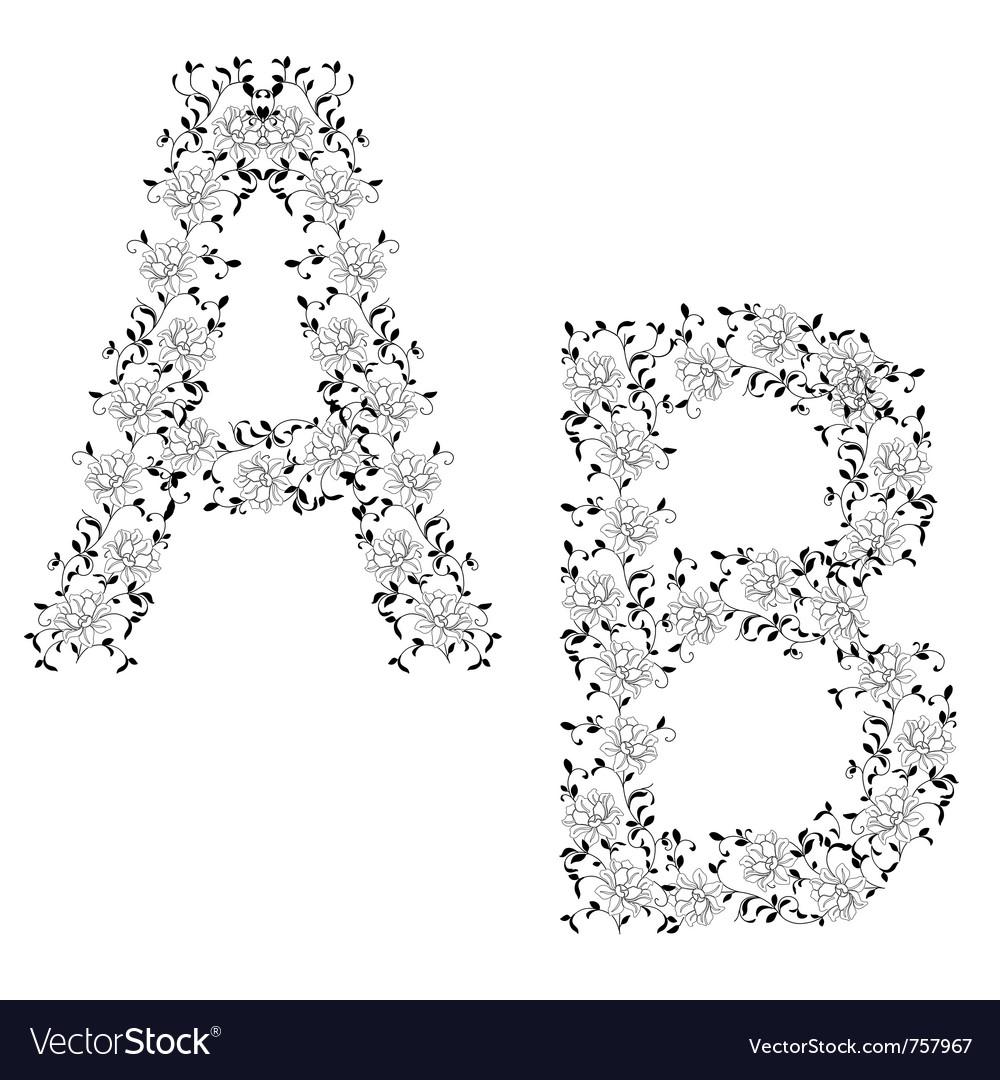 Ornamental letter ab vector image