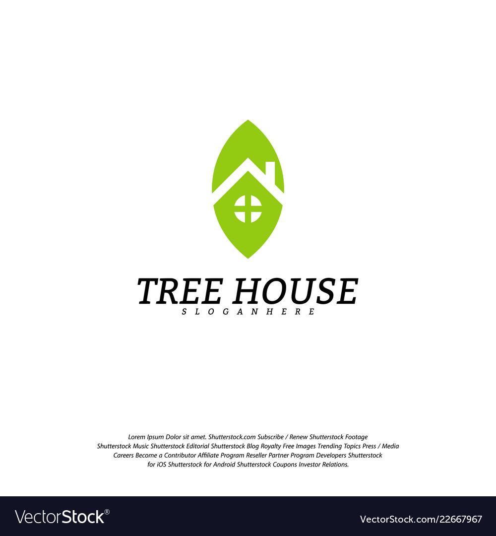 Tree house logo template leaf house logo