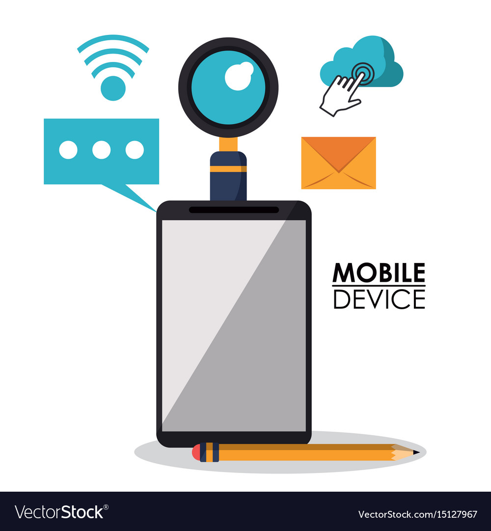 White background poster of mobile device with