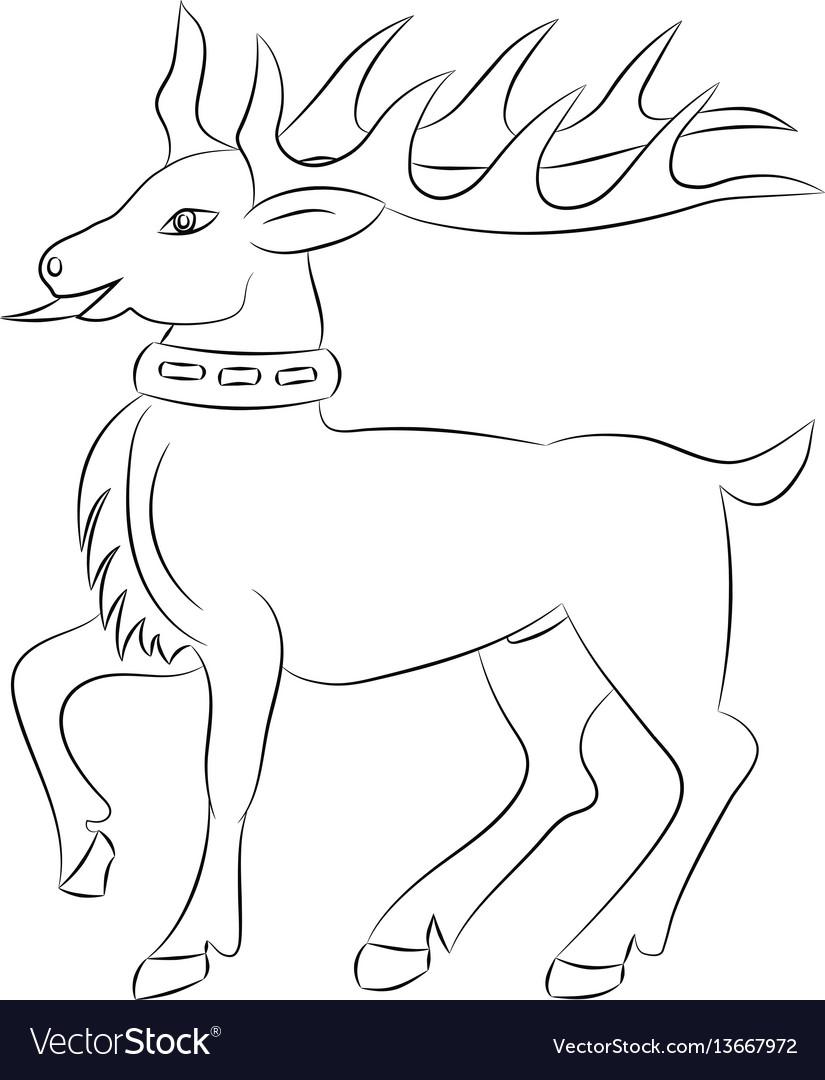 Cartoon deer contour on white background