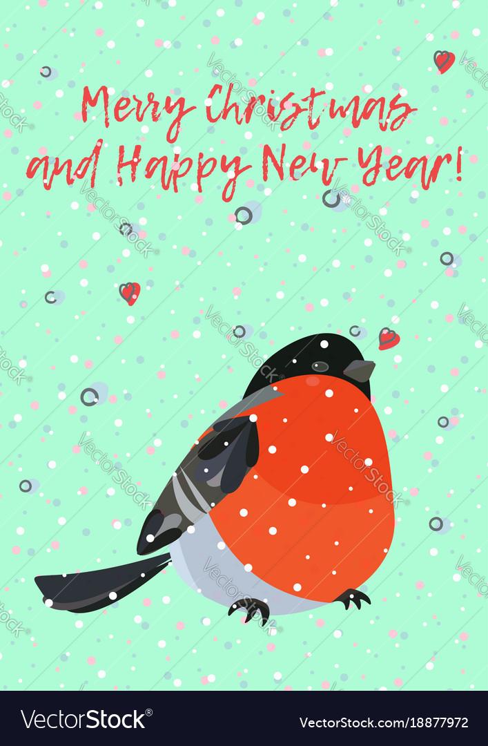 Colorful card with bright bird bullfinch