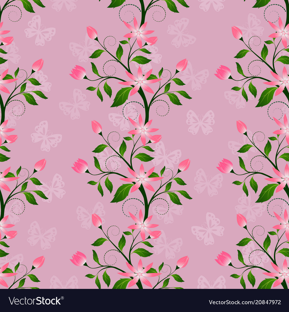 Floral seamless in pink color abstract pattern vector image