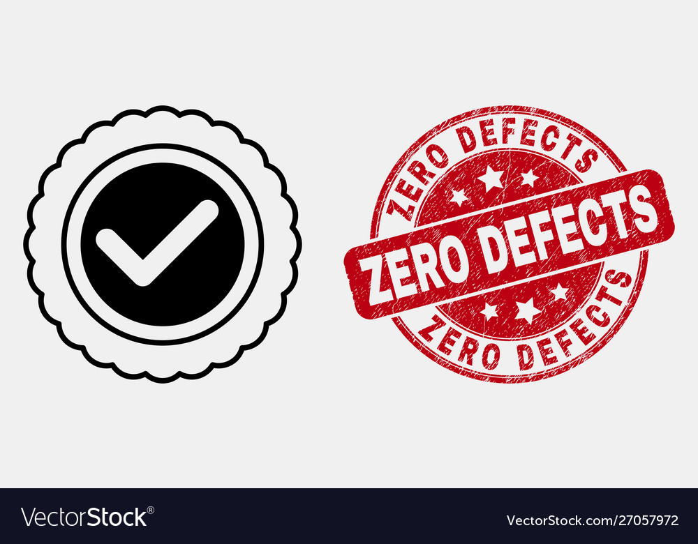 Line approve seal icon and distress zero