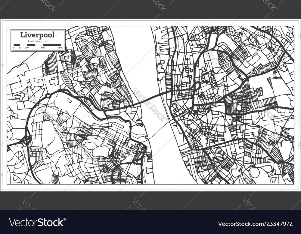 Liverpool england city map in retro style outline