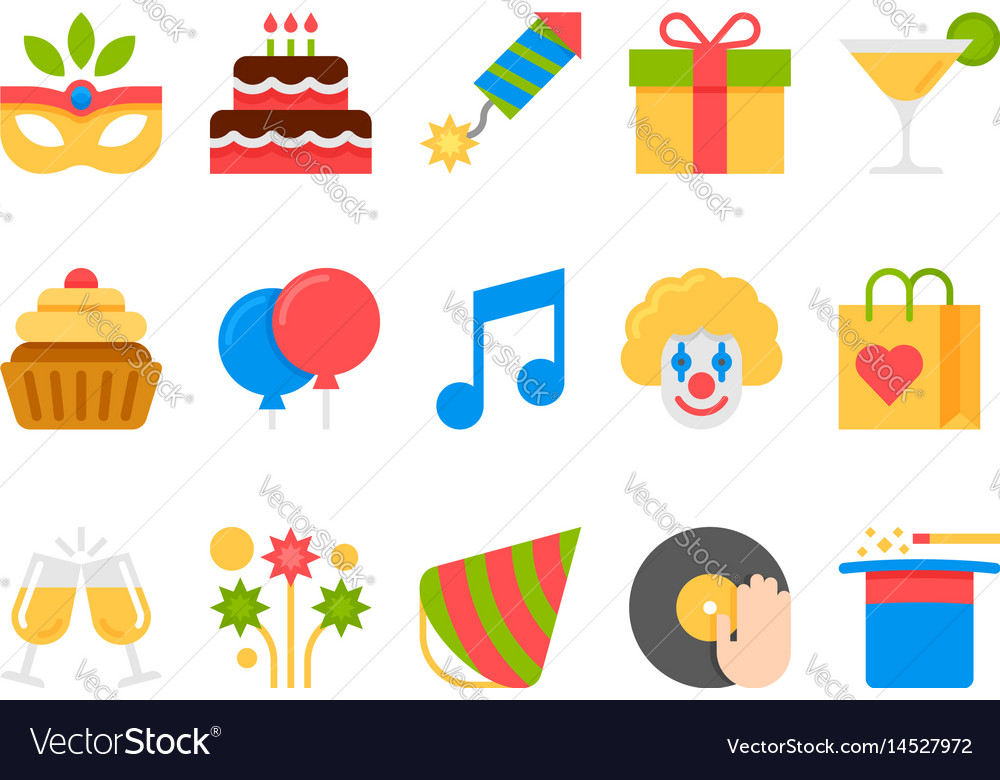 Party holiday birthday flat icons set vector