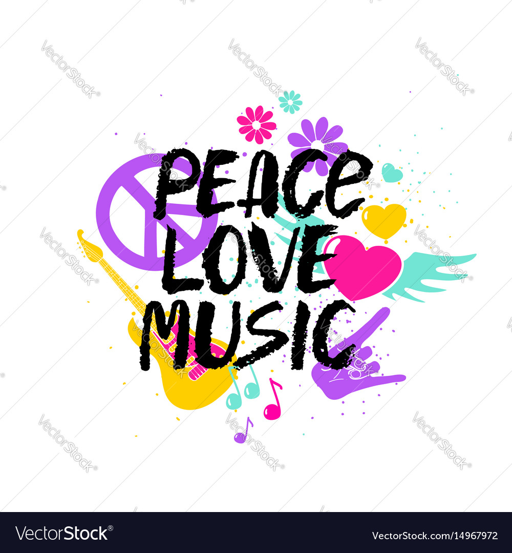 Peace Love Music Lettering With Symbols Royalty Free Vector