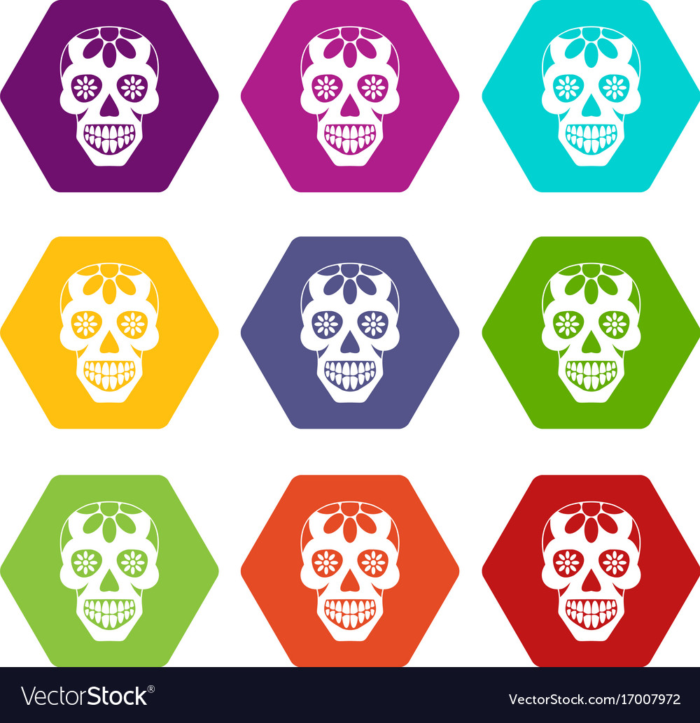 Sugar skull flowers on the skull icon set color