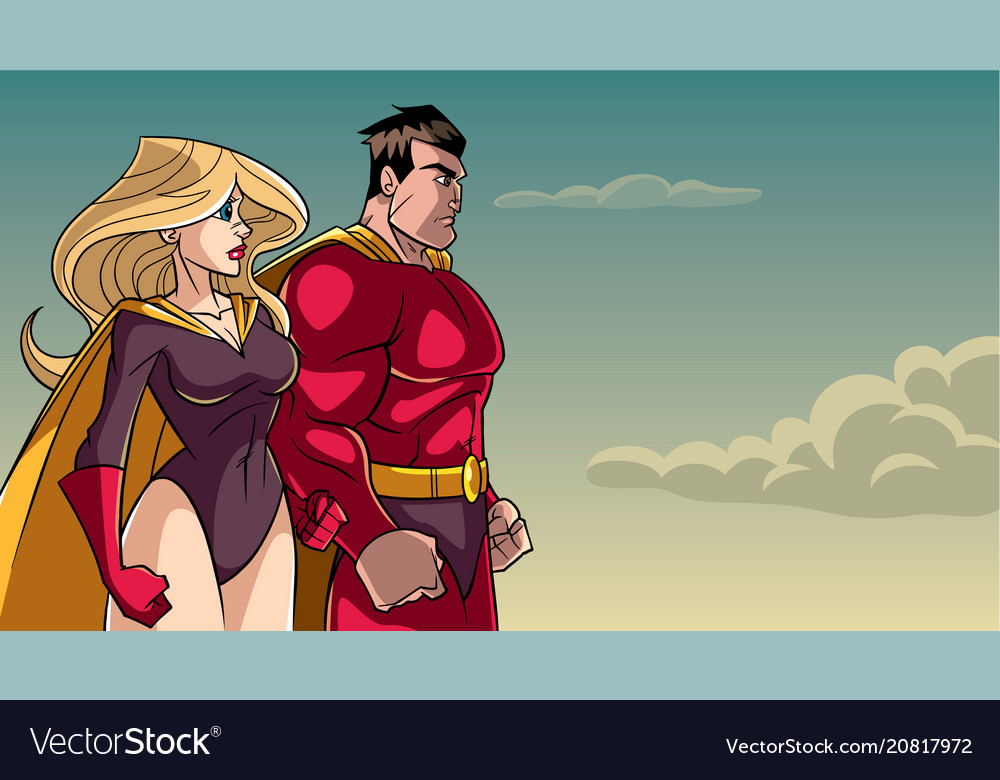 Superhero couple standing together vector image
