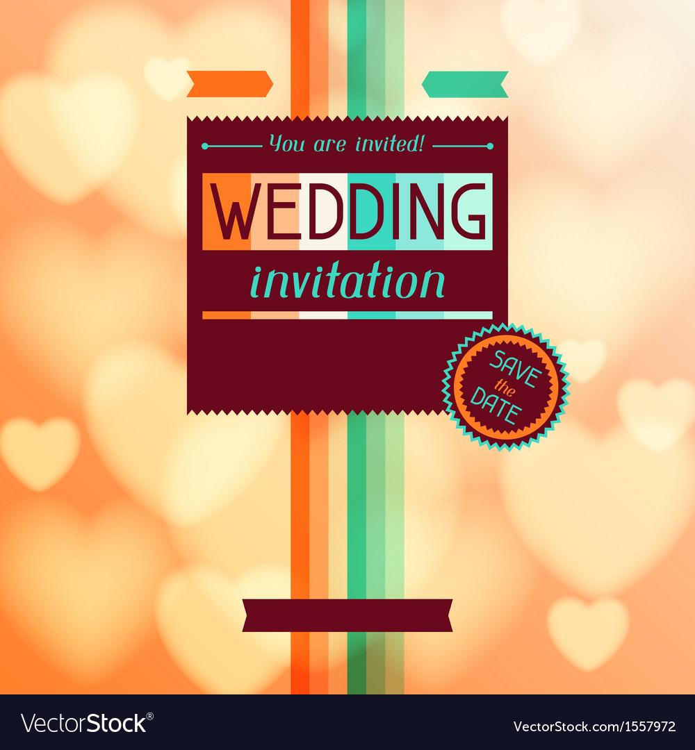 Wedding invitation card in retro style Royalty Free Vector