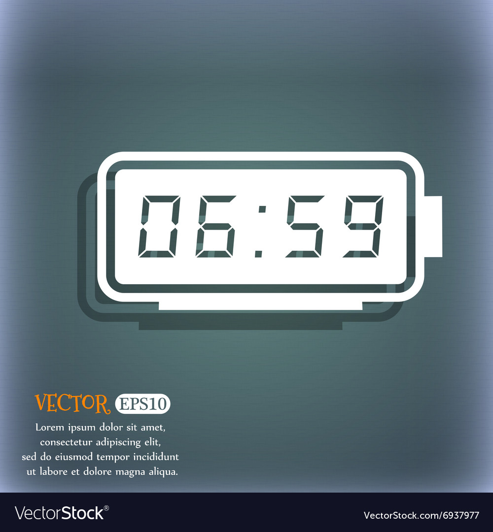 Alarm clock icon On the blue-green abstract