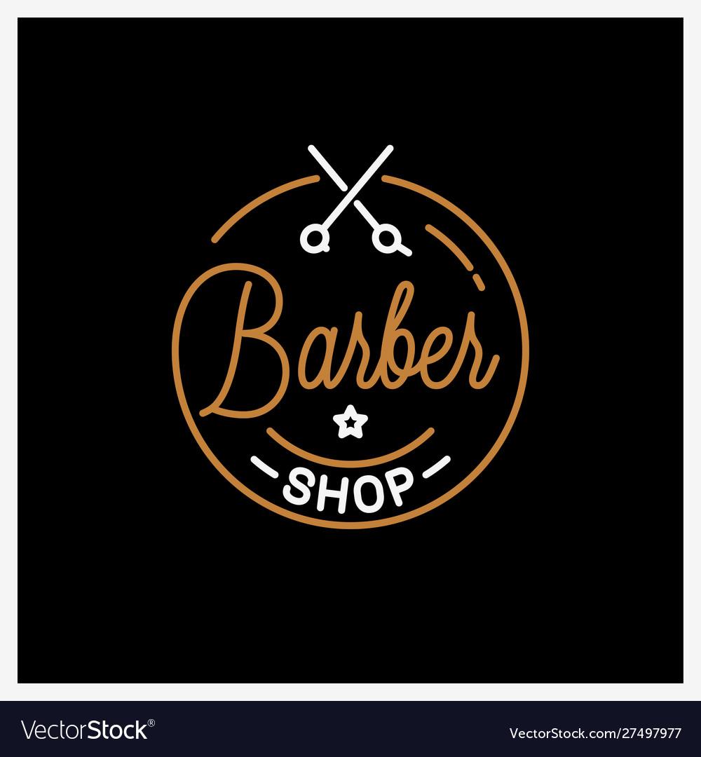 Barber shop logo round linear logo barber
