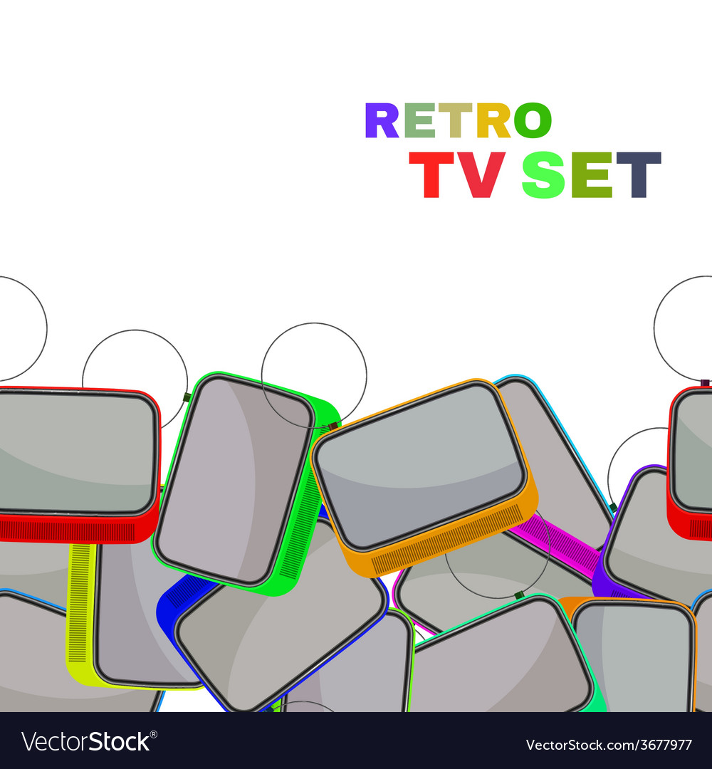 Colorful Retro Tv set isolated vector image