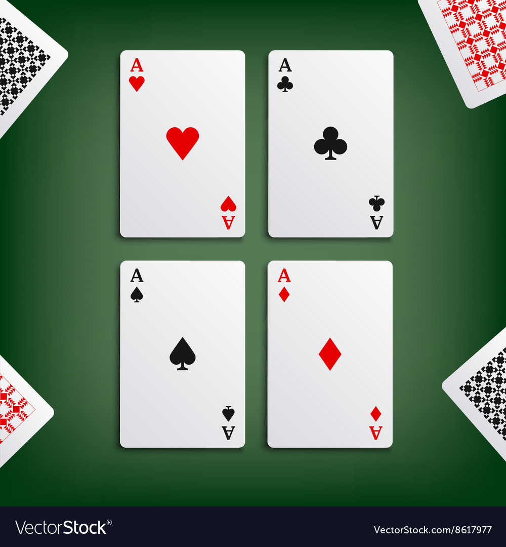 Four aces for poker game vector image