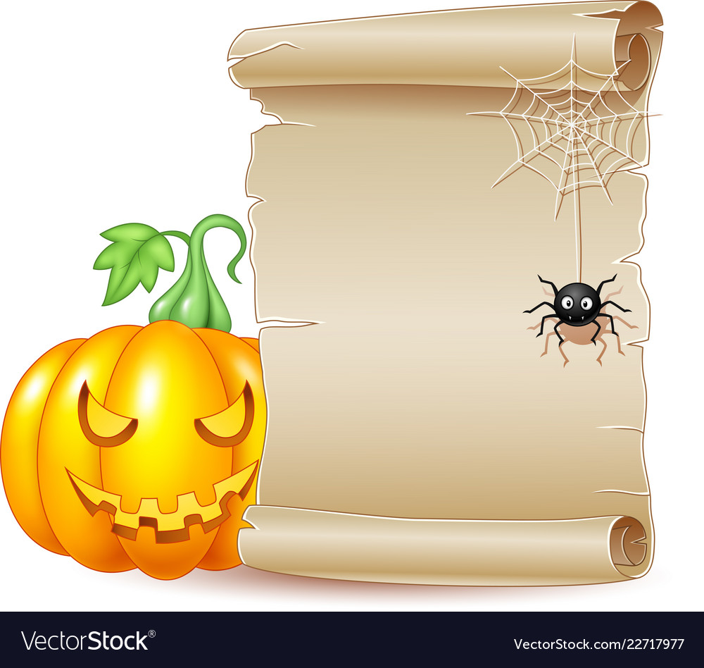 Halloween scroll banner with scary pumpkin and spi