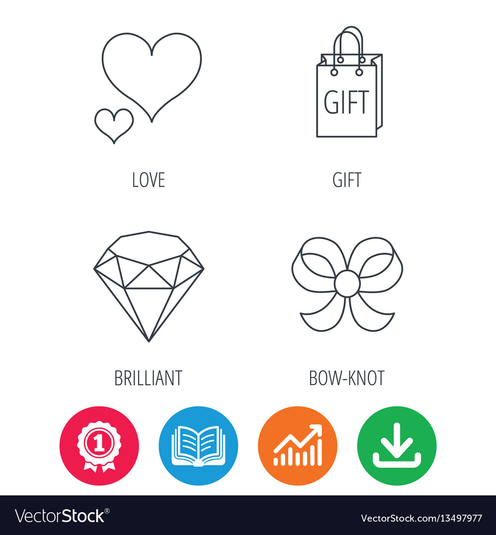 Love heart gift bag and brilliant icons