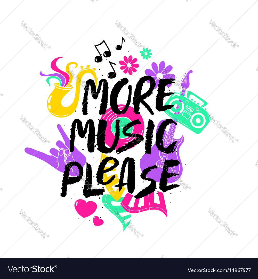 More music please lettering with funny symbols