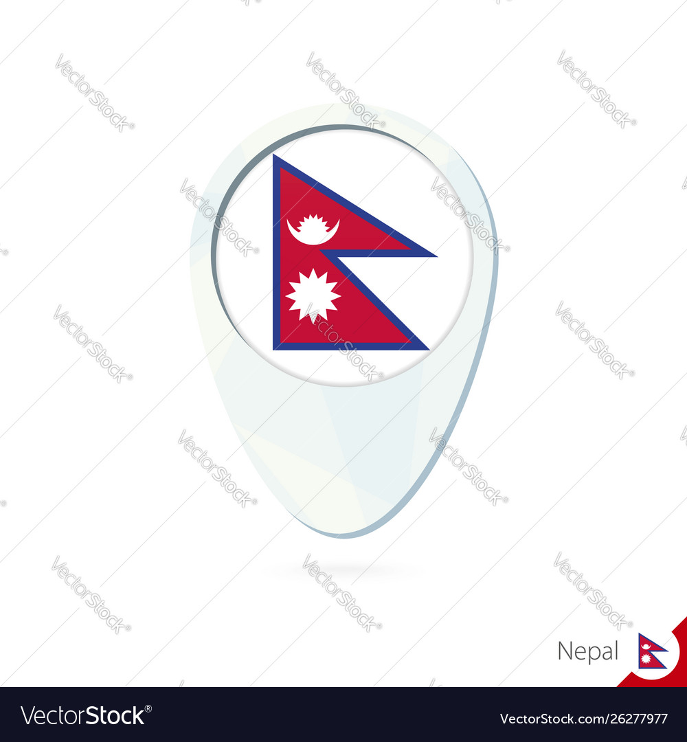 Nepal flag location map pin icon on white