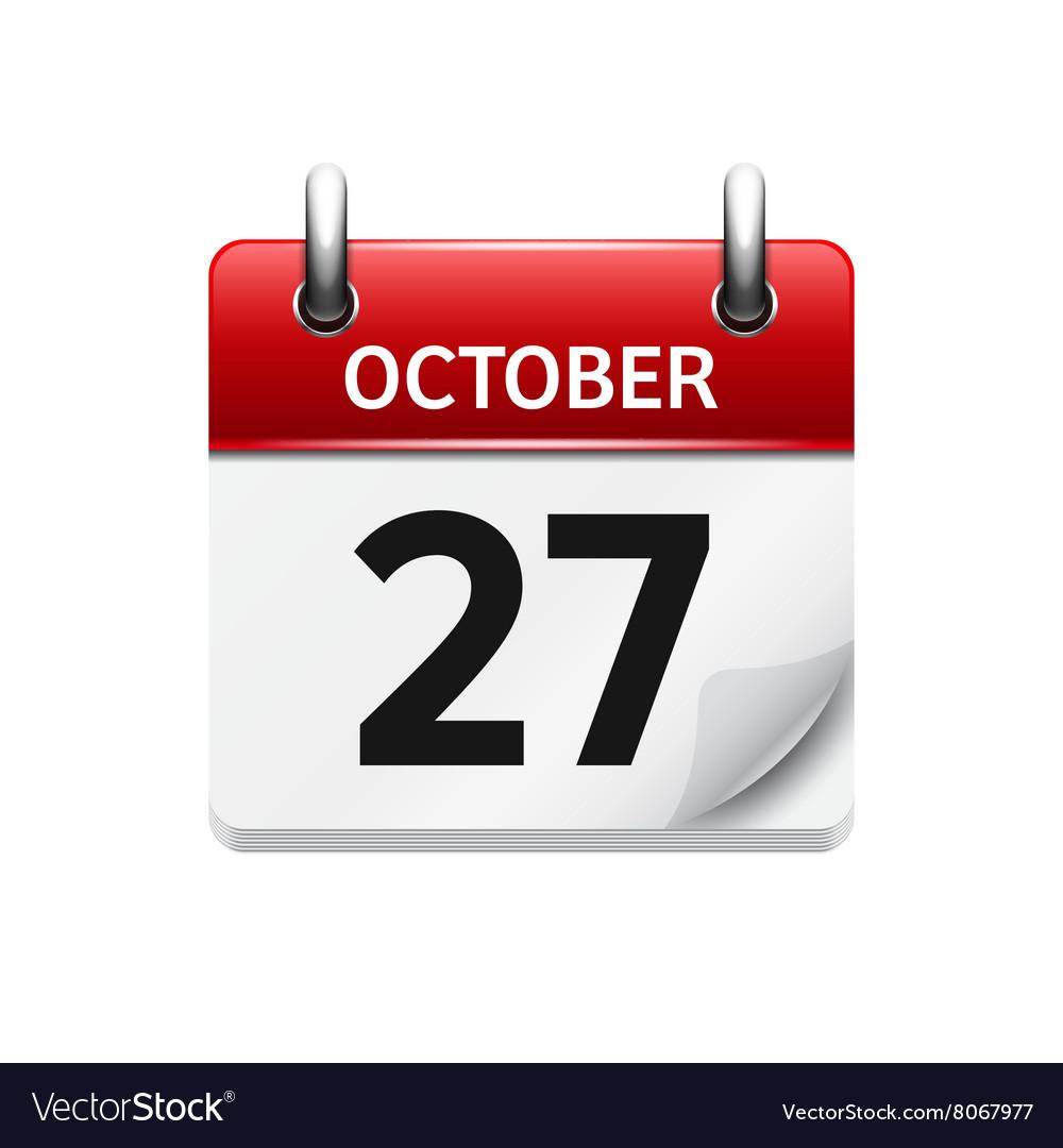 October 277 flat daily calendar icon vector image