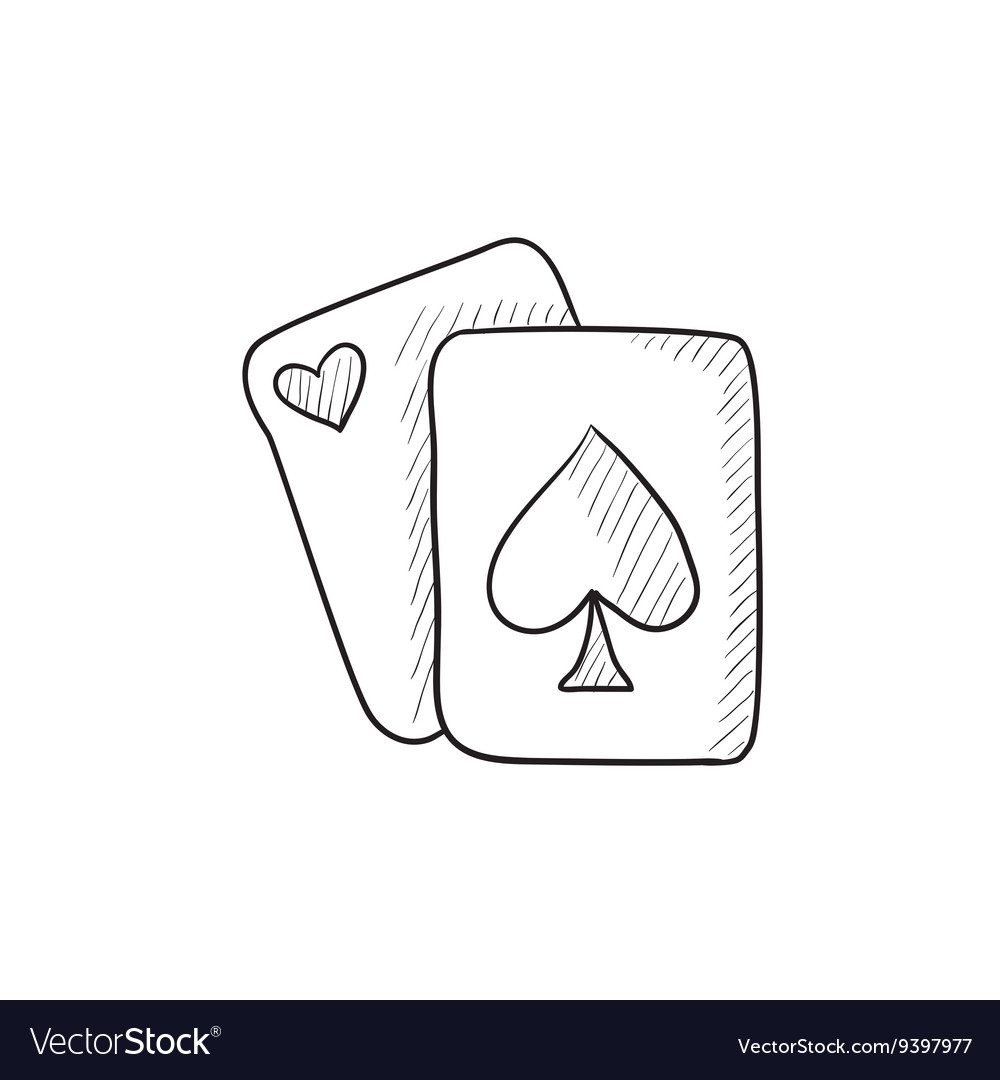 Playing cards sketch icon