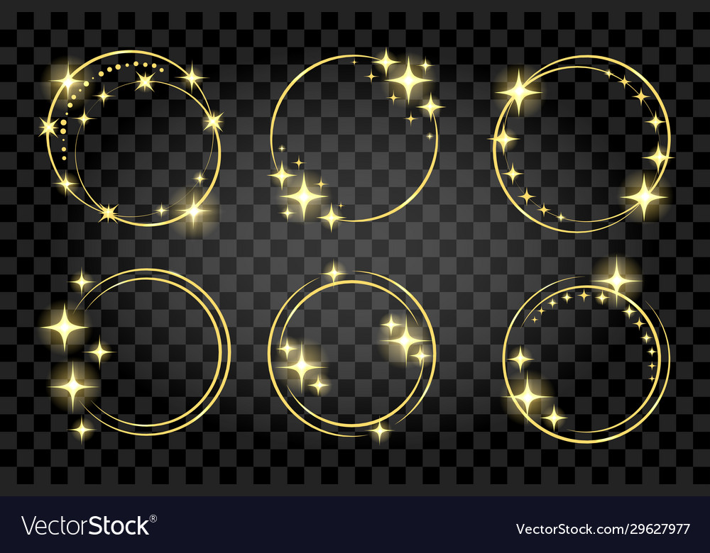 Set golden circle stardust frame isolated on