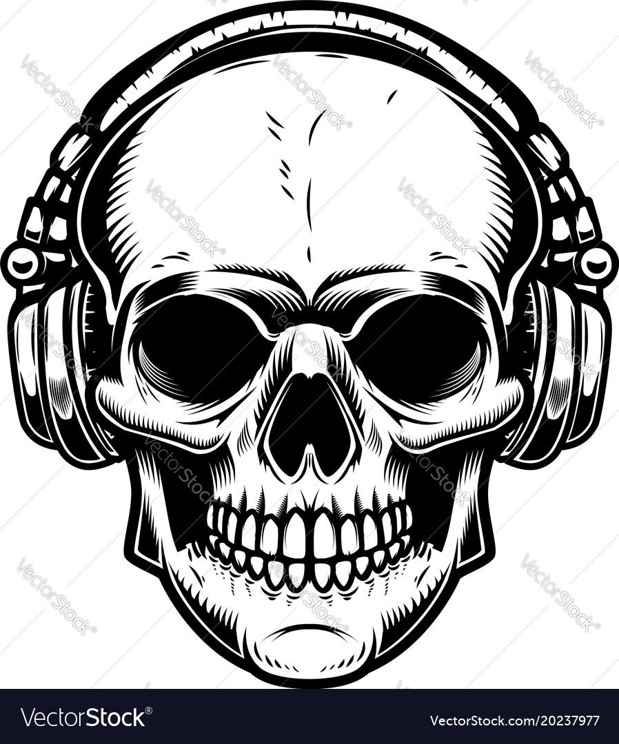 902c5ba1d77 Skull with headphones design element for poster Vector Image