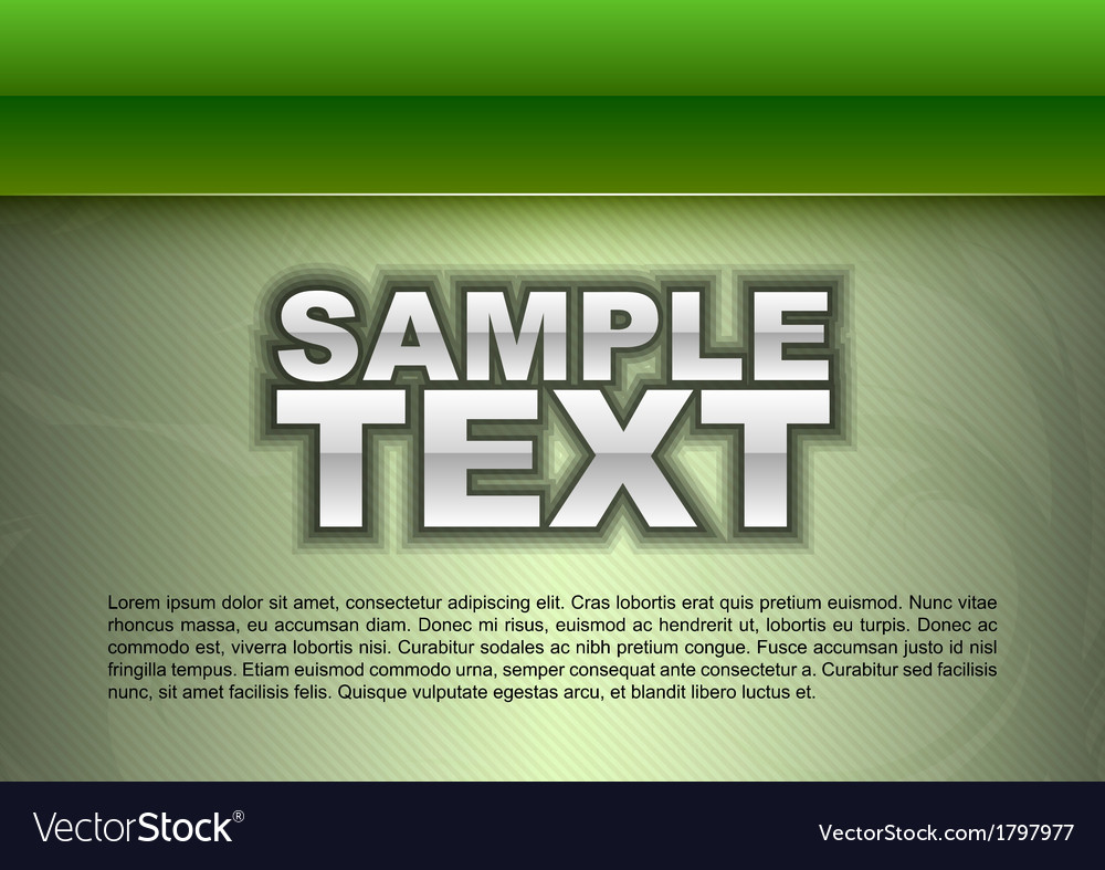 Template green stripe big text vector image