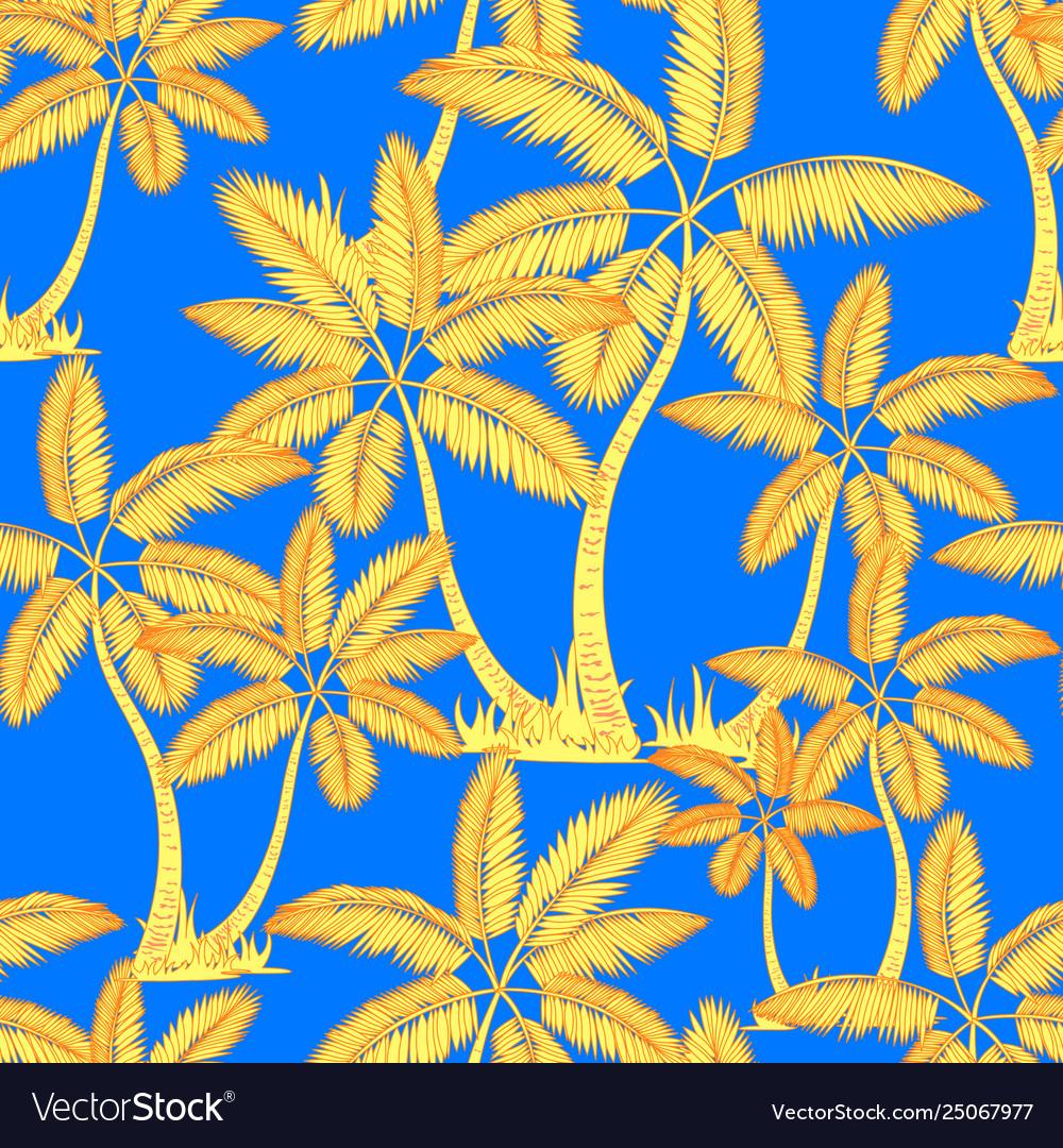 Yellow orange seamless tropical palms pattern