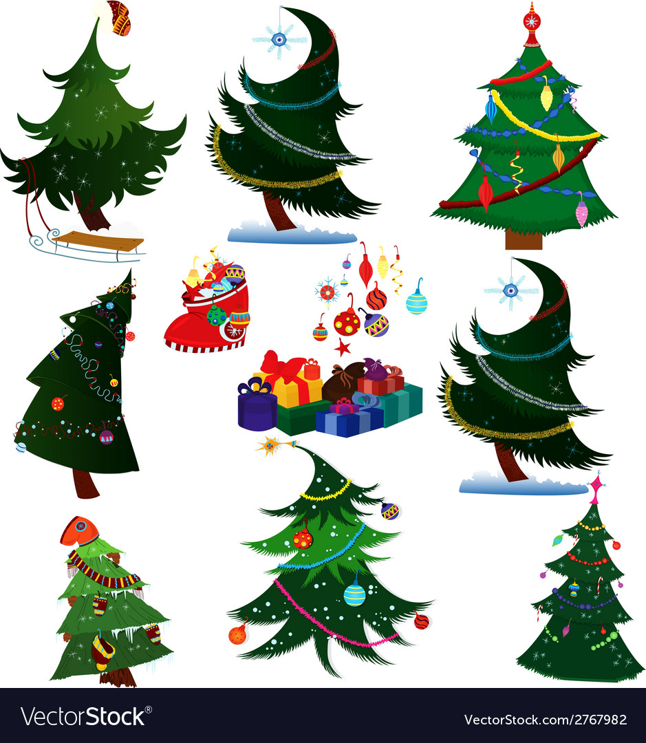 Cartoon Christmas Trees With Presents Royalty Free Vector The material is very breathable, strong grasping ability, withoout temperature. vectorstock