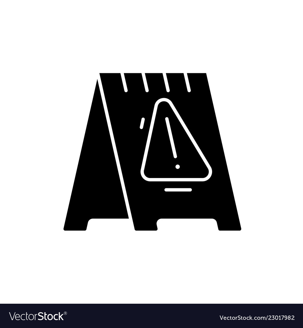 Caution signpost black icon sign on