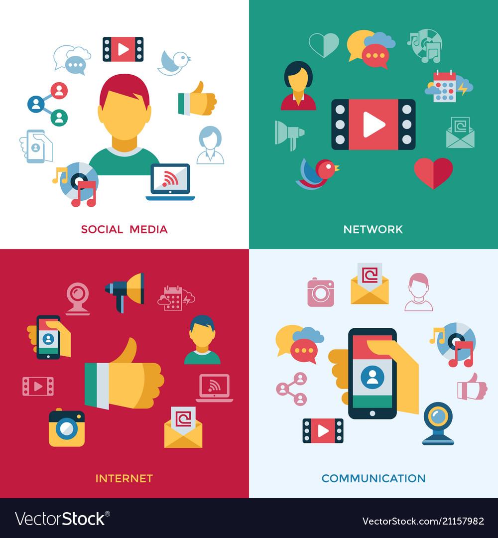 Digital social media and communication vector image
