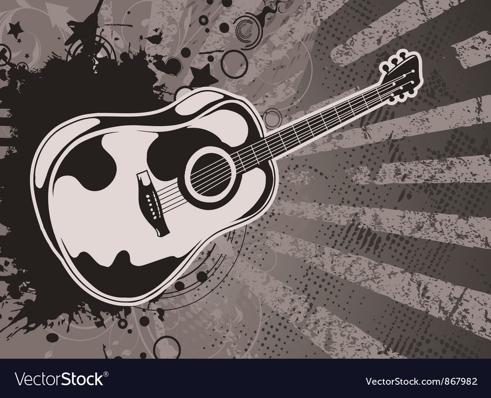 Music wallpaper with guitar vector image