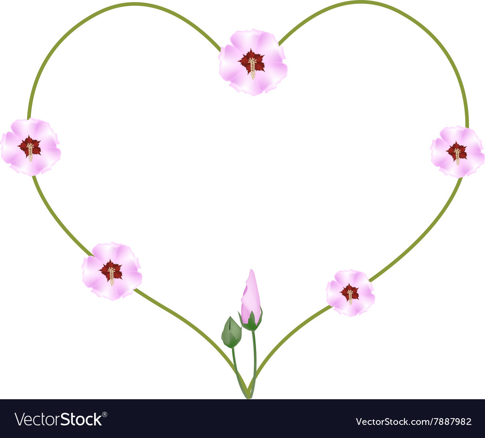 Pink Hibiscus Flowers In A Heart Shape Royalty Free Vector