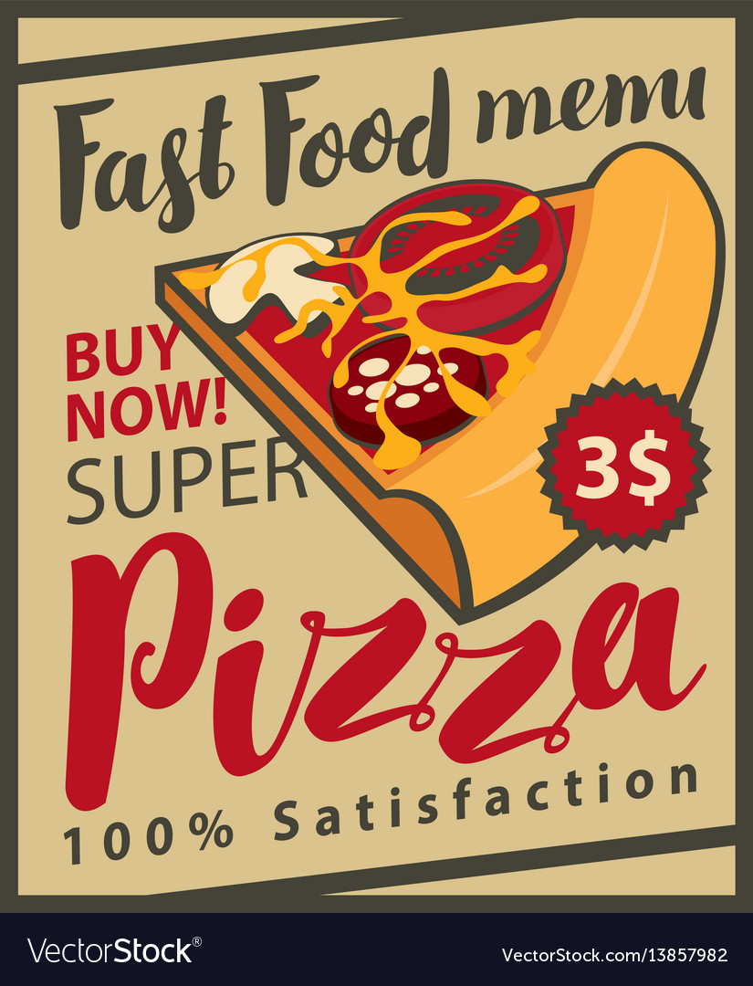 Retro menu with slice of pizza
