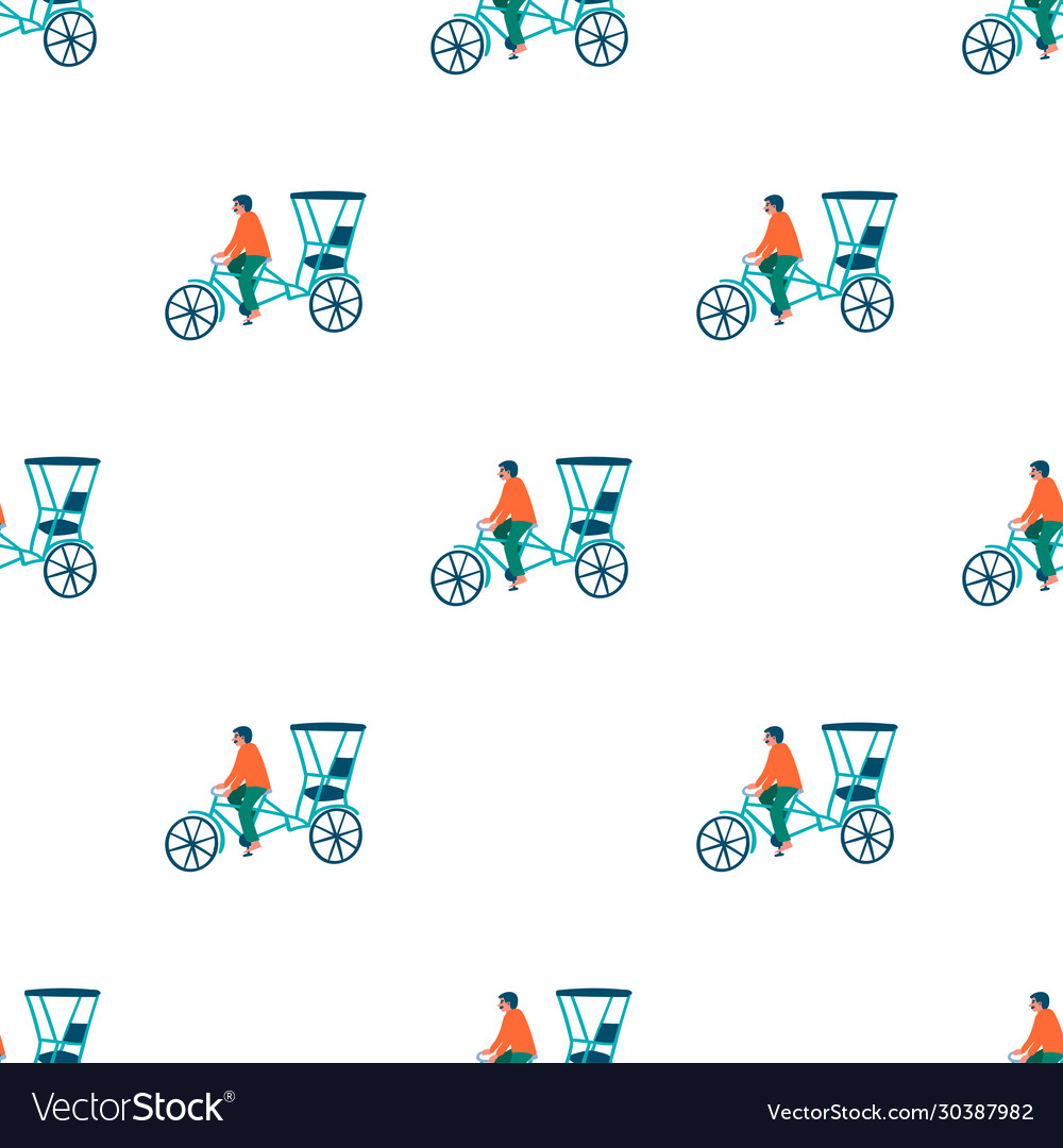 Rickshaw seamless pattern vector