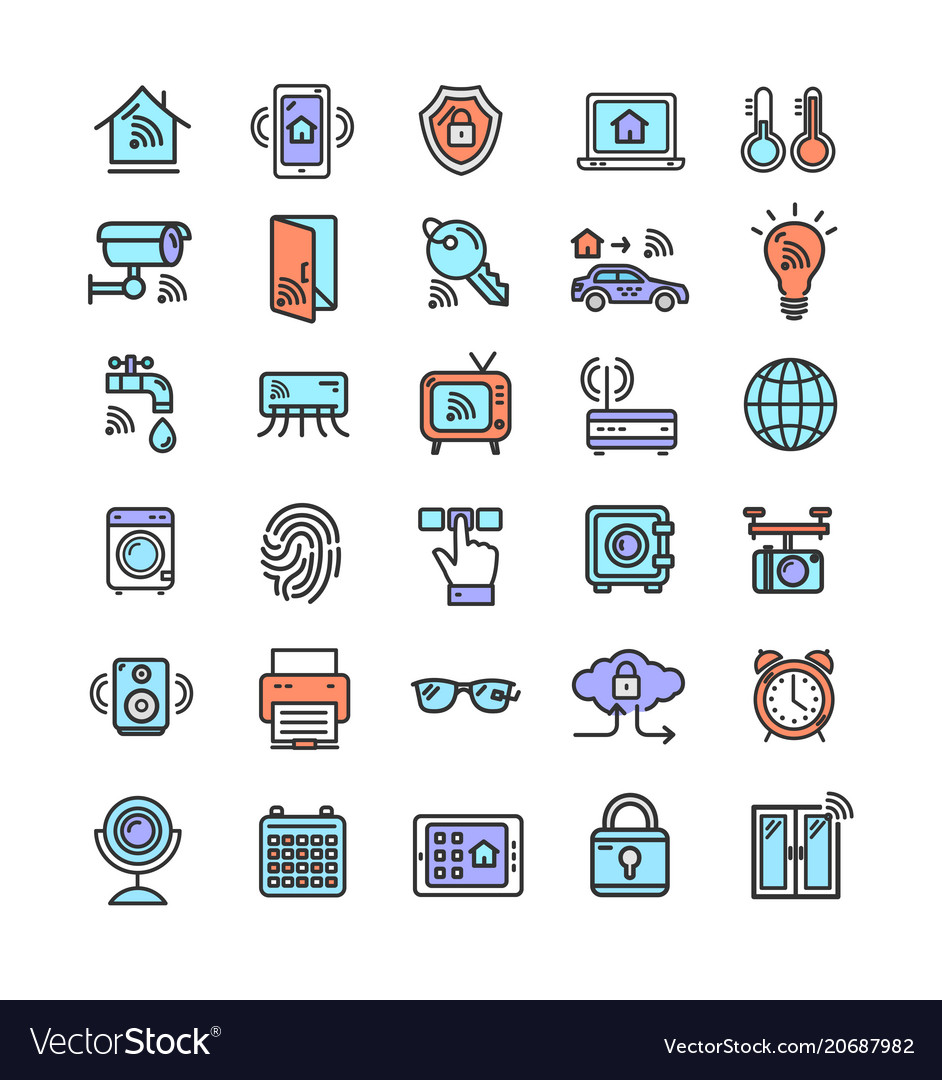Smart home signs color thin line icon set