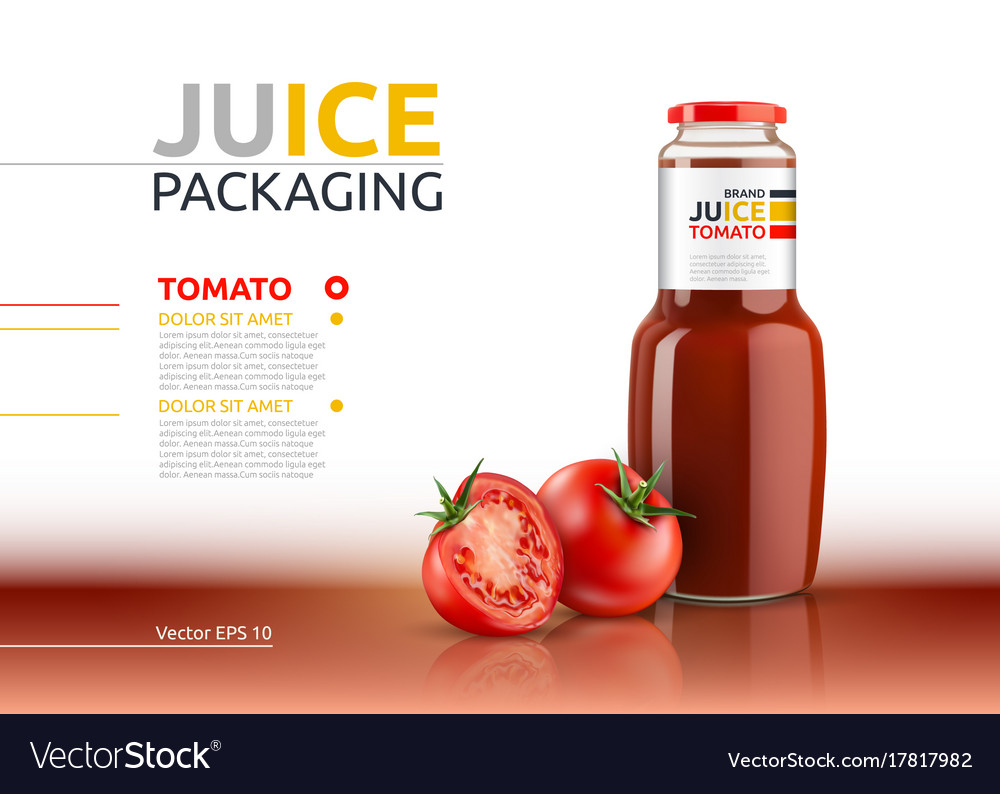 Tomato juice packaging realistic mock up
