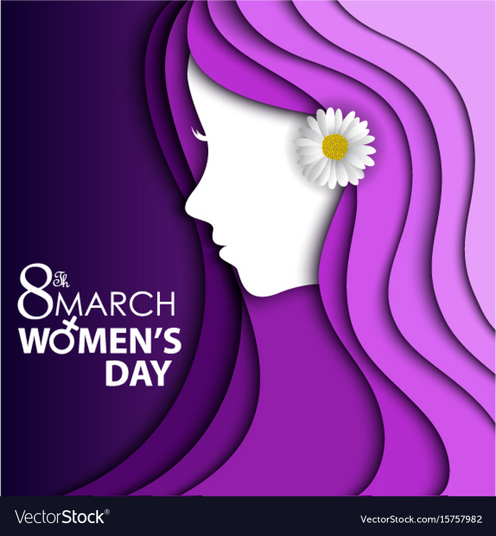 Women day greeting card with flower