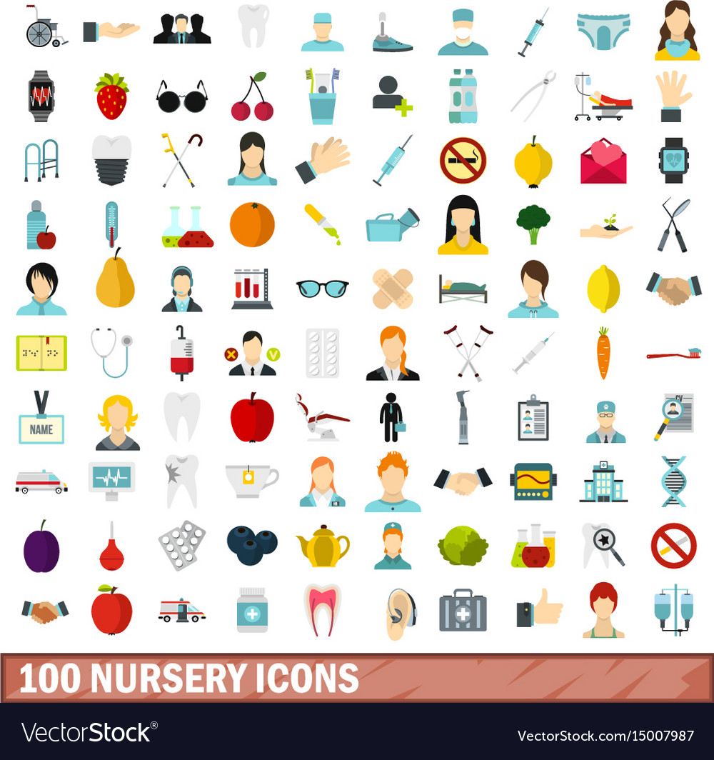 100 nursery icons set flat style