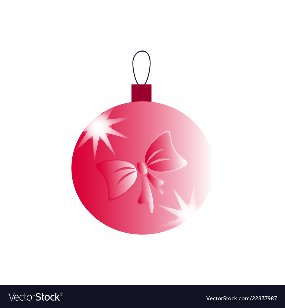 A christmas ball with pink bow icons