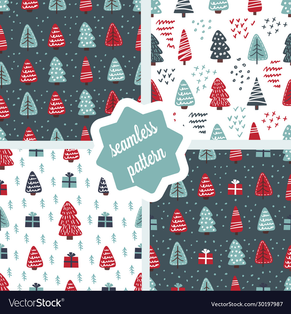 Cute christmas trees seamless pattern set