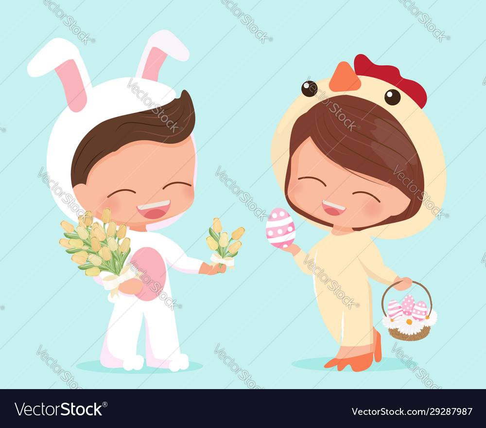 Cute happy flat style young couple in easter