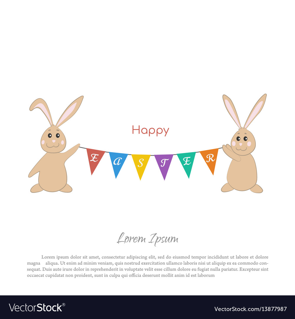 Easter bunnies with a garland of flags
