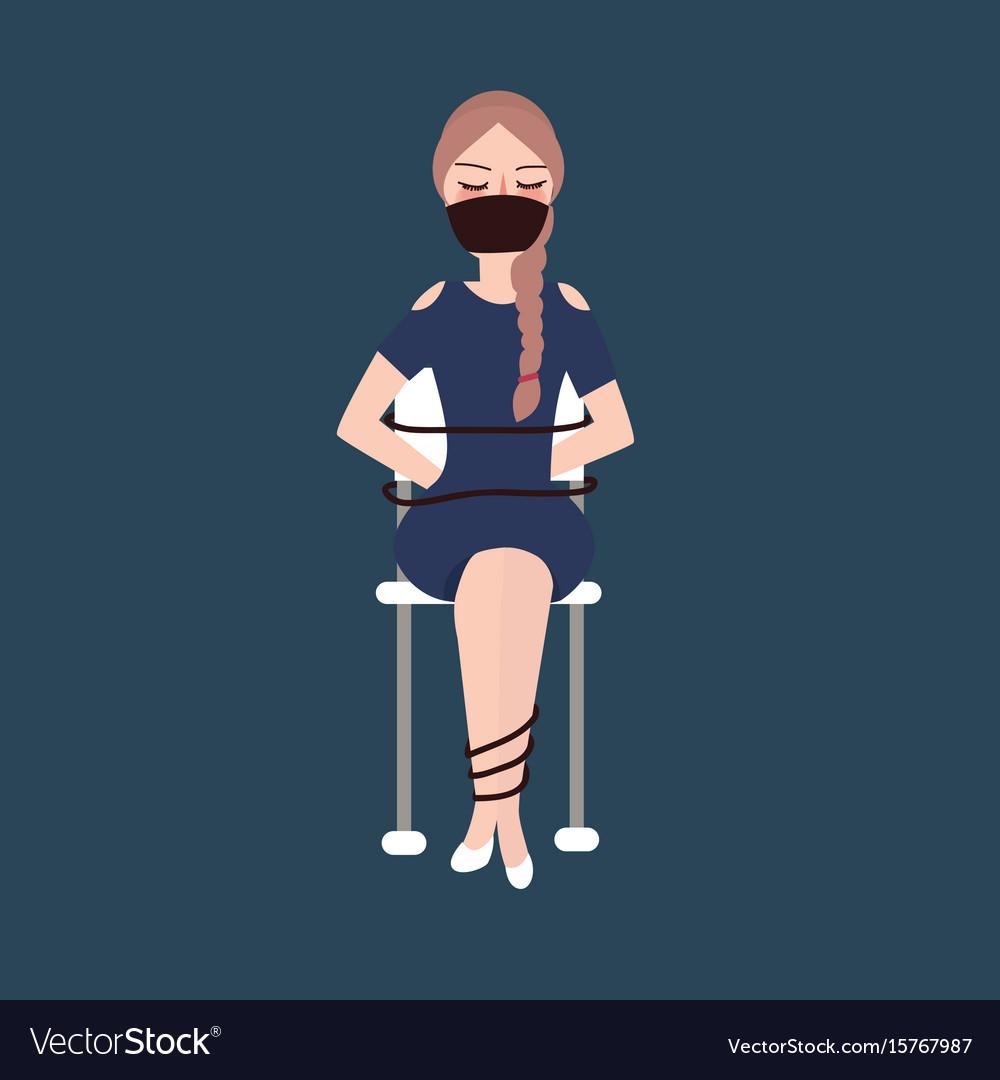 Niña secuestrada atada con cuerda sentada mujer víctima-1023