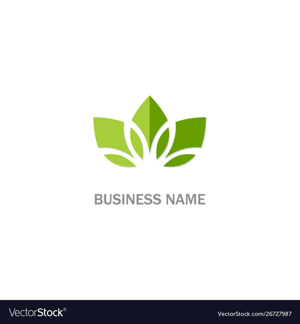 Green leaf lotus organic flower logo