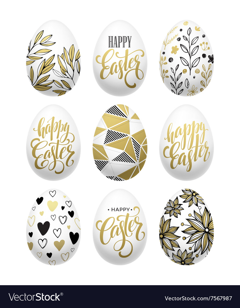 Happy easter Calligraphic lettering egg golden