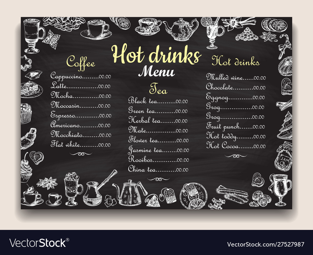 Hot drinks chalkboard menu list template