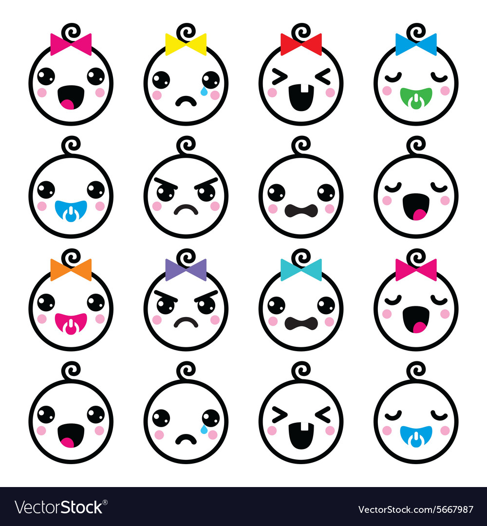 Kawaii baby boy and girl cute faces icons set