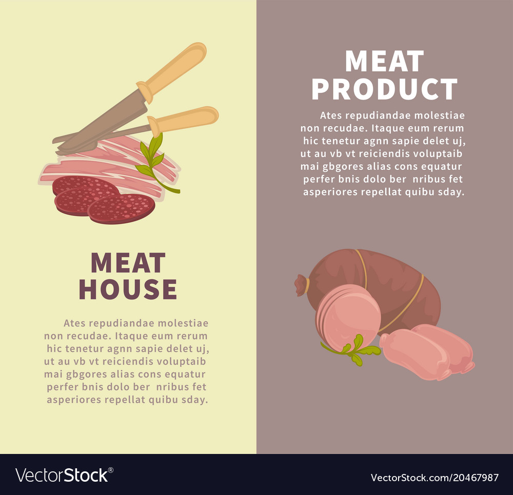 Meat house with organic food promotional vertical