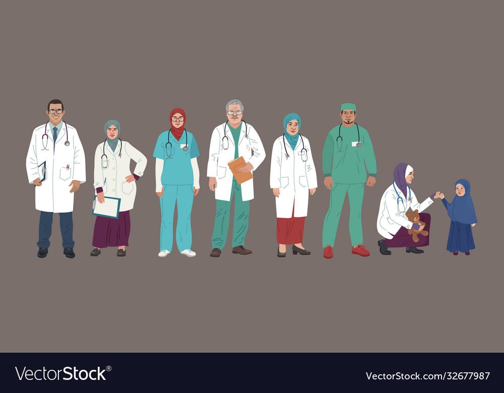 Medical characters middle eastern medics arab