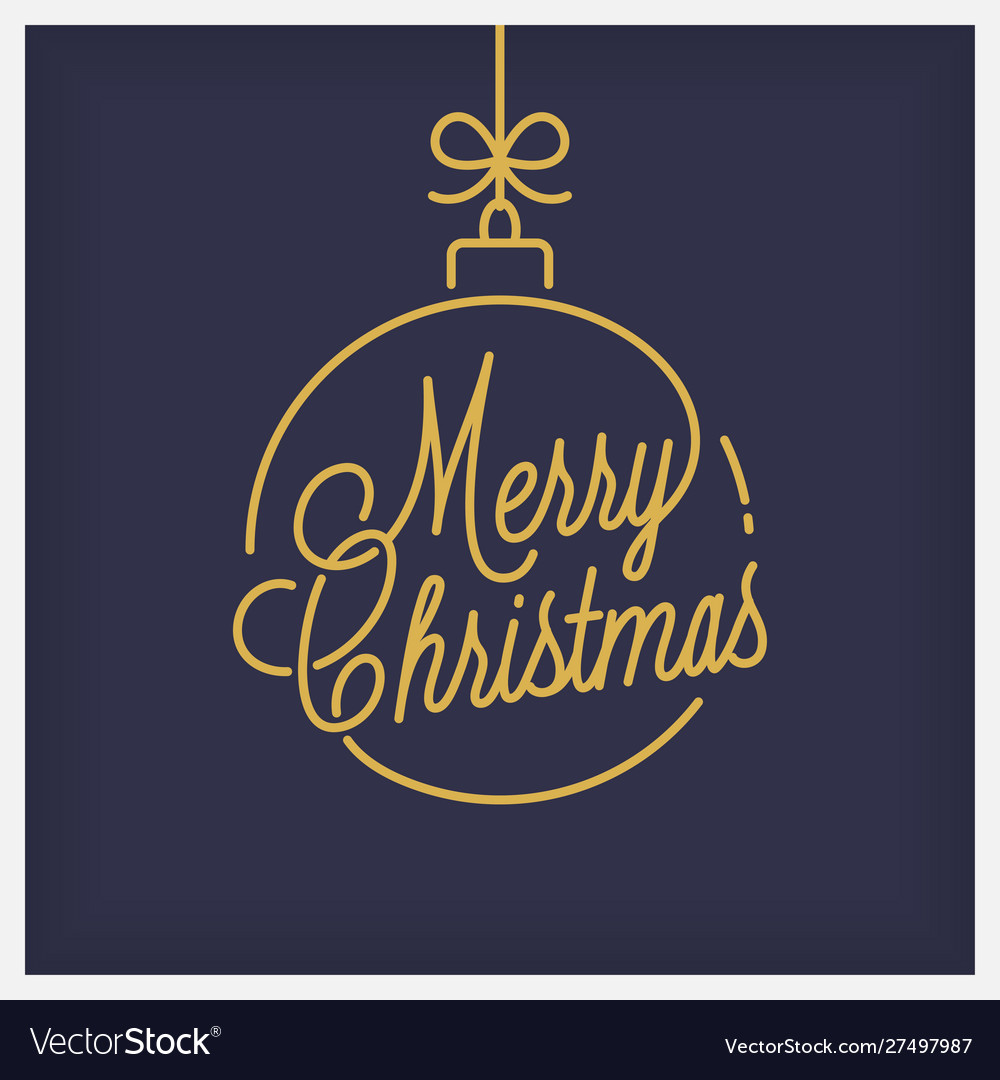 Merry christmas logo round linear xmas lettering